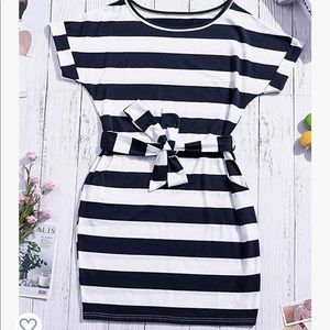Navy and White Small Stripped Dress